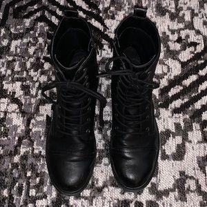 Universal Thread Black Leather Combat Boots